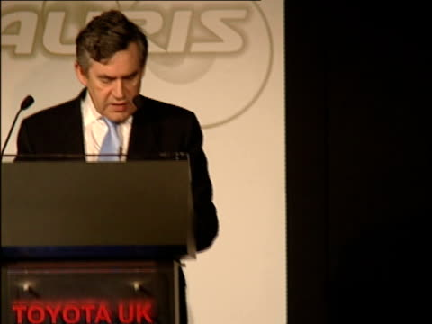gordon brown launches uk production of toyota auris: brown speech and touring factory / general views of factory production line; - we the british... - economy class stock videos & royalty-free footage