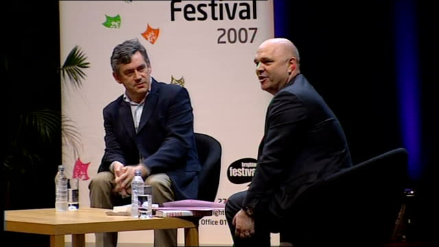 gordon brown leadership campaign: day 3; east sussex: brighton: dome concert hall: antony minghella along on stage with brown as prepares to... - the english patient点の映像素材/bロール