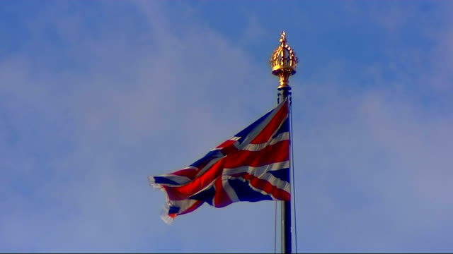 gordon brown makes first queen's speech as prime minister parliament general views close shot of features on roof of parliament / union flag flying /... - victoria tower stock videos & royalty-free footage