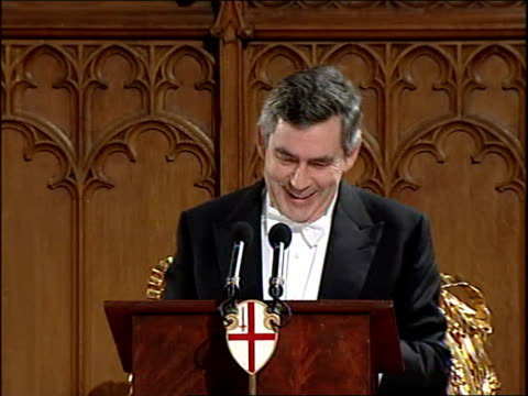gordon brown makes foreign relations speech at lord mayor's banquet england london guildhall int gordon brown mp speech sot throughout*** my lord... - lord mayor of london city of london stock videos & royalty-free footage