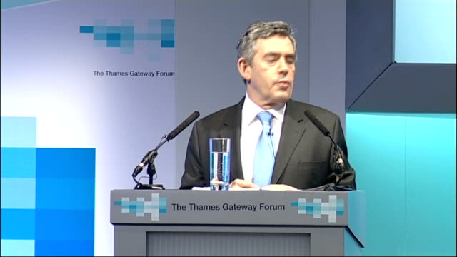 Gordon Brown makes speech at the Thames Gateway Forum Brown speech SOT Looking outwards from the centre as I did as I came into the Thames we can...