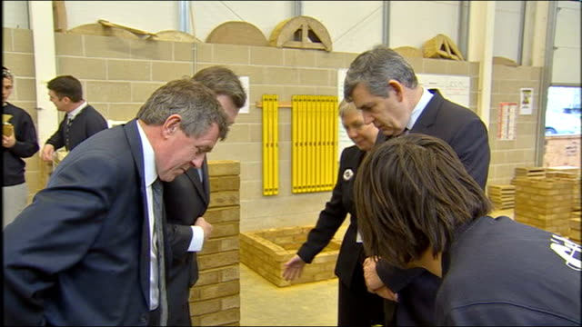 gordon brown meets apprentices at college in southampton brown denham and balls speaking with apprentice builder sot gordon brown mp interview sot we... - too small stock videos & royalty-free footage