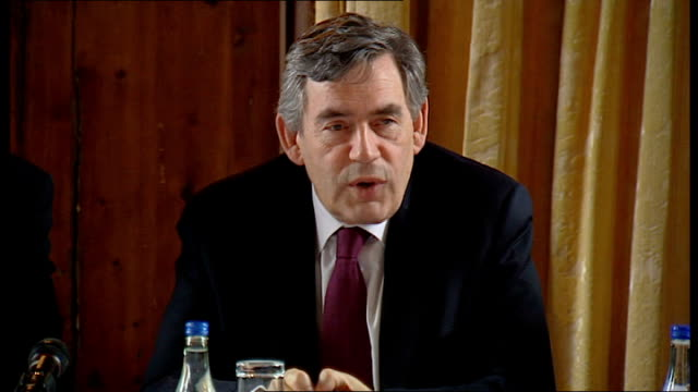 gordon brown meets oil industry leaders to discuss high fuel prices scotland banchory int gordon brown speaking at round table meeting of industry... - newly industrialized country stock videos & royalty-free footage