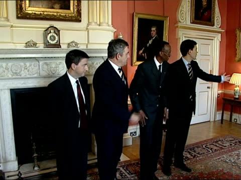 gordon brown meets president of rwanda paul kagame; england: london: downing street: int * * beware flash photography * * gordon brown mp handshake... - douglas alexander stock videos & royalty-free footage