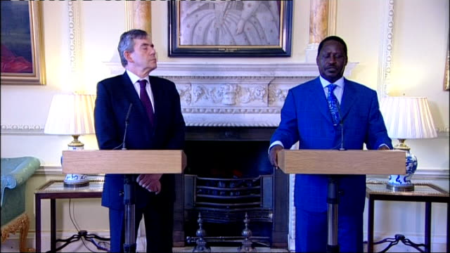 gordon brown meets prime minister raila odinga brown press conference sot odinga recognises importance of democracy in africa and dangers if it fails... - raila odinga stock videos and b-roll footage