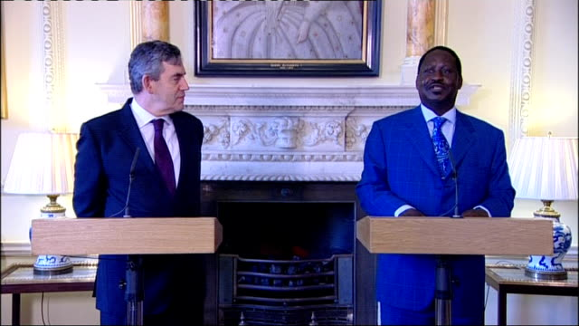vídeos y material grabado en eventos de stock de gordon brown meets prime minister raila odinga odinga press conference sot would like to expand agricultural production to become selfsufficient / on... - autosuficiencia