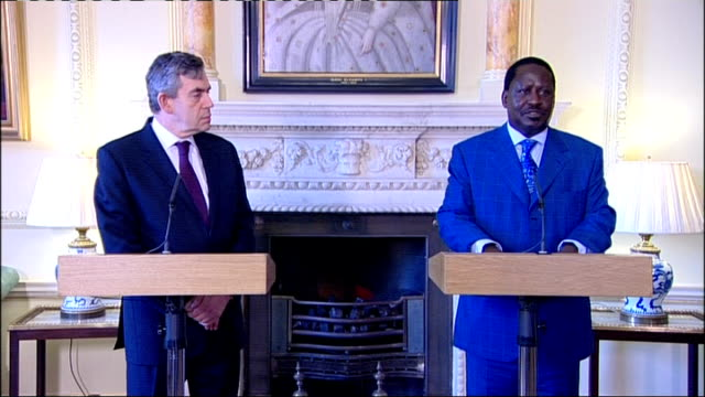 gordon brown meets prime minister raila odinga odinga press conference sot equally concerned about darfur / african union must take the lead to press... - raila odinga stock videos and b-roll footage