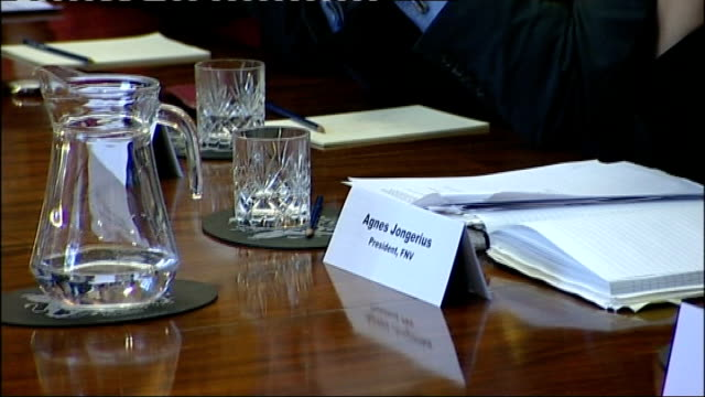 gordon brown meets trade union leaders ahead of g20 summit england london downing street int various of trade union leaders sitting at table in... - g20 leaders' summit stock videos & royalty-free footage