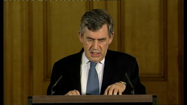 gordon brown monthly press conference; **flash photography** england: london: 10 downing street: int gordon brown along to podium labelled with... - high speed photography stock videos & royalty-free footage
