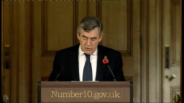 gordon brown monthly press conference; england: london: downing street: int gordon brown mp press conference sot - good morning. i apologise for the... - co ordination stock videos & royalty-free footage