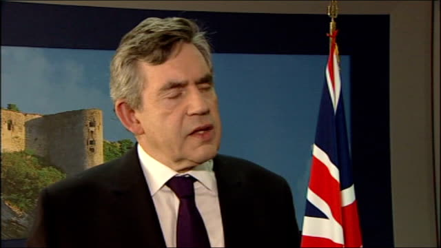 gordon brown mp interview sot we have got first step towards copenhagen / all major countries accept they must act on climate change / developed... - oresund region stock videos & royalty-free footage