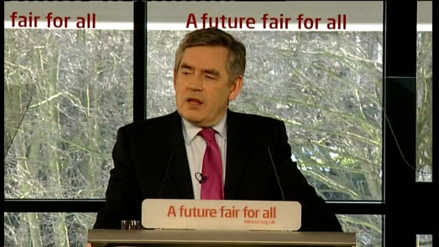 stockvideo's en b-roll-footage met gordon brown mp speech sot - i want to announce to you today that there are only 76 campaigning days left until the elections, the council elections - itv weekend evening news