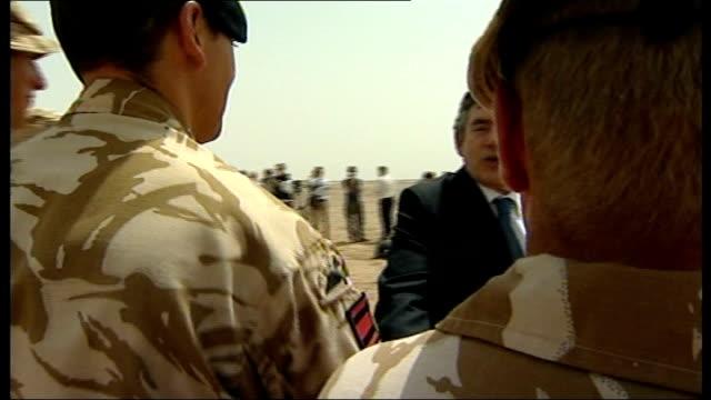 gordon brown mp visiting british troops and interview sot - ジュリー エッチンガム点の映像素材/bロール