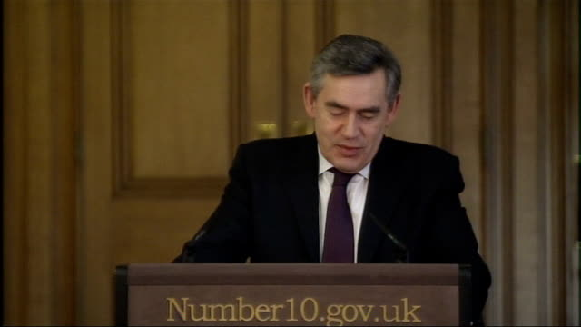 gordon brown optimistic about economic future brown press conference answers question about having a mandate to carry through policies and what the... - tighten stock videos and b-roll footage
