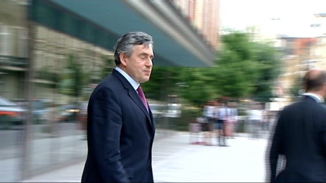 ext gordon brown out of nhs clinic and to car - gordon brown stock videos & royalty-free footage