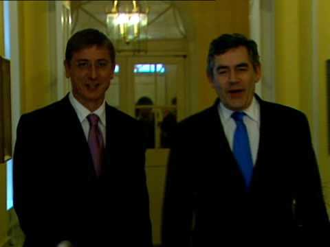 gordon brown photocall with hungarian prime minister ferenc gyurcsany england london downing street photography *** gordon brown mp towards with... - traditionally hungarian stock videos & royalty-free footage