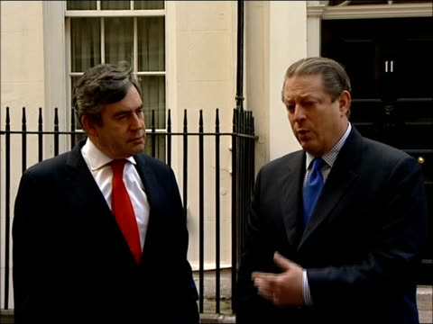 gordon brown press conference with al gore at downing street q heard do you think climate change bill in this country could be picked up in us does... - climate finance stock videos & royalty-free footage