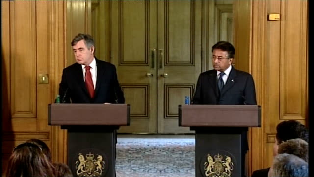 gordon brown press conference with pakistan's president pervez musharraf; gordon brown mp press conference sot - very pleased to hear the news that... - international security assistance force stock videos & royalty-free footage