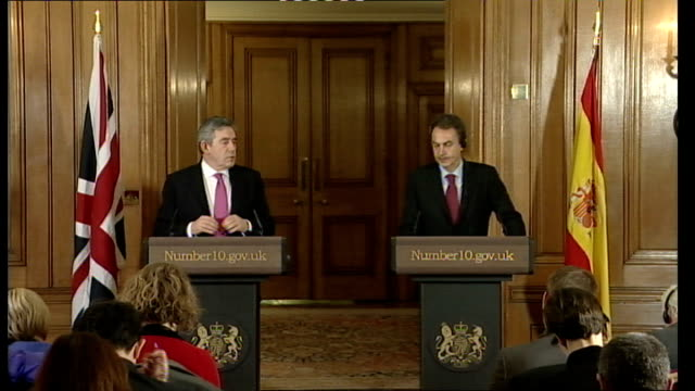 gordon brown press conference with spanish prime minister; england: london: downing street: int gordon brown mp towards into press conference room... - g force stock videos & royalty-free footage