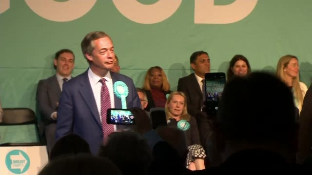 Gordon Brown questions the Brexit Party's system of funding ENGLAND London Hammersmith INT Audience Nigel Farage MEP speech SOT Various of Farage...