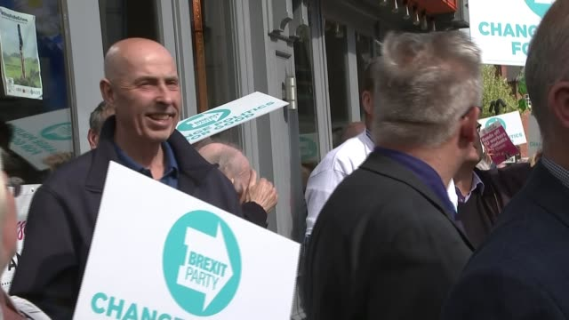 Gordon Brown questions the Brexit Party's system of funding ENGLAND West Yorkshire Wakefield EXT Brexit Party supporters holding placards and...