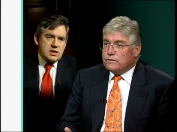 gordon brown revises economy growth forecast; int douglas mcwilliams interview sot - chancellor's forecast for growth had been reasonable, at least... - 16 17 years stock videos & royalty-free footage