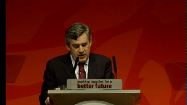 gordon brown scottish labour party conference speech brown speech sot first phone call to president obama was made from glasgow talks of answers to... - conference phone stock videos & royalty-free footage