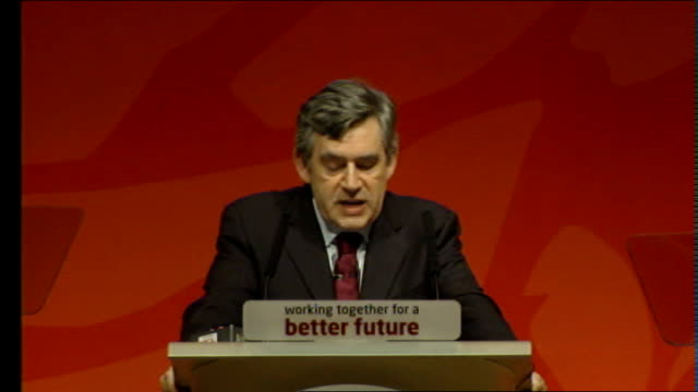 gordon brown scottish labour party conference speech brown speech sot first priority for people of scotland is not separation it is social justice... - scottish national party stock videos & royalty-free footage