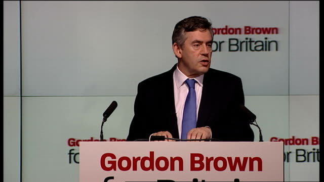 vídeos de stock e filmes b-roll de gordon brown speech accepting the nomination as the labour party leader to those who feel the political system doesn't listen and doesn't care to... - gordon brown