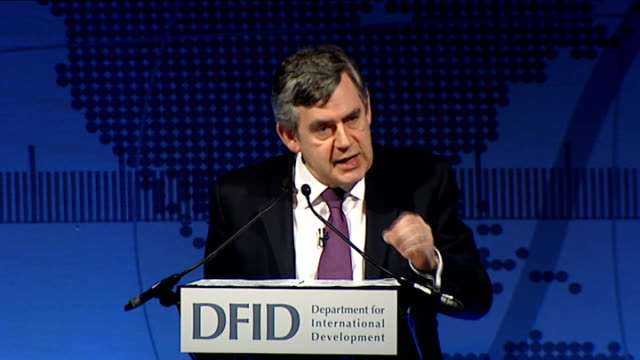 gordon brown speech at difd eliminating poverty summit; gordon brown mp speech sot - we can retreat into the protectionism that will lead us to look... - the world's end stock videos & royalty-free footage