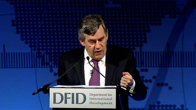 gordon brown speech at difd eliminating poverty summit; gordon brown mp speech sot - now many of these achievements are permanent - a child who has... - new age stock videos & royalty-free footage