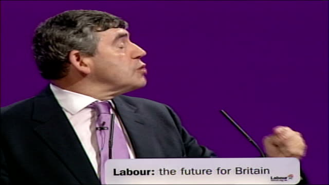 gordon brown speech at labour party conference 2006 but we must also remember what for successive governments have been as hilary armstrong has said... - バンク オブ イングランド点の映像素材/bロール
