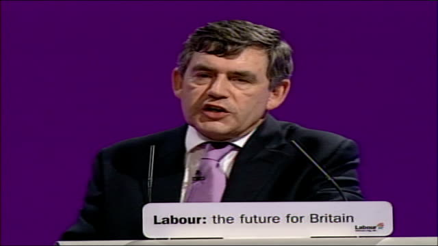 gordon brown speech at labour party conference 2006 let us reaffirm the truth that as individual citizens of britain we must act upon the... - british labour party stock videos & royalty-free footage