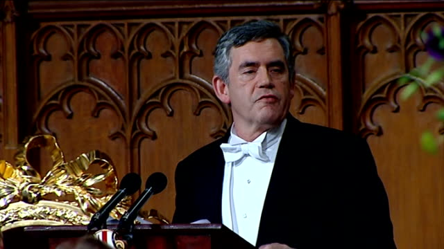 gordon brown speech at lord mayor's banquet; gordon brown speech continued sot can anyone today seriously believe we can tackle the recession,... - co ordination stock videos & royalty-free footage