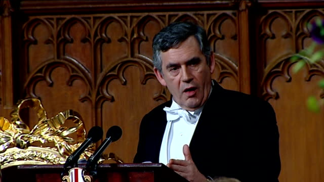 gordon brown speech at lord mayor's banquet; gordon brown speech continued sot there are no britain-only, europe only, or us-only ways to manage a... - the world's end stock videos & royalty-free footage