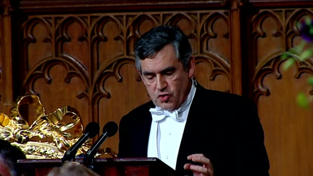vídeos y material grabado en eventos de stock de gordon brown speech at lord mayor's banquet; gordon brown speech continued sot and day by day we are continuing to track a large number of suspicious... - number 9