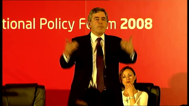 gordon brown speech at national policy forum talks about renewable sources of energy/ areas where britain can lead the world nuclear power... - newly industrialized country stock videos & royalty-free footage