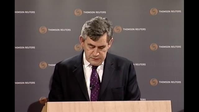 gordon brown speech at offices of thomson reuters in london brown speech sot so the imf and financial stability forum should act as an early warning... - reuters stock videos & royalty-free footage