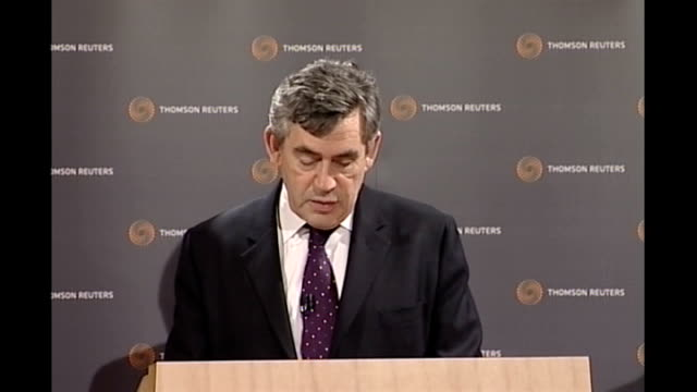 gordon brown speech at offices of thomson reuters in london brown speech sot and as i said a few days ago we will not shirk from our responsibilities... - reuters stock videos & royalty-free footage