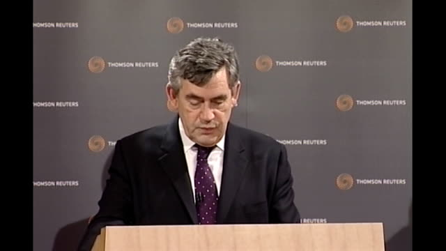gordon brown speech at offices of thomson reuters in london brown speech sot the founders of bretton woods had devised in the 1940s rules for a world... - reuters stock videos & royalty-free footage