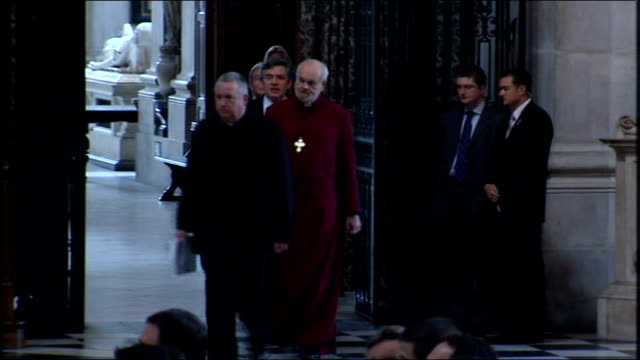 gordon brown speech at st paul's institute lecture england london st paul's cathedral int sarah brown arriving gordon brown mp kevin rudd and bishop... - bishop of london stock videos & royalty-free footage