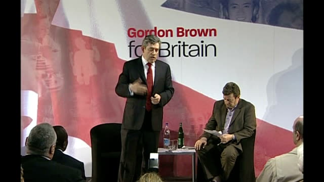 gordon brown speech followed by qa session audience applauding / brown answering questions sot on housing problems such as overcrowding high property... - social history stock videos & royalty-free footage