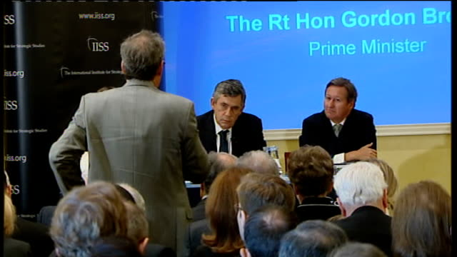gordon brown speech on afghanistan; gordon brown answering questions sot - on objectives in afghanistan / it is credible to say we will build up to... - seguire attività che richiede movimento video stock e b–roll