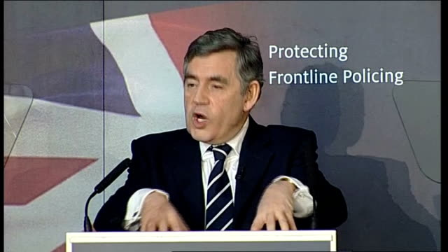 gordon brown speech on crime and anti-social behaviour; gordon brown speech continues sot - and above all they are responsible only to the law for... - doing a favour stock videos & royalty-free footage