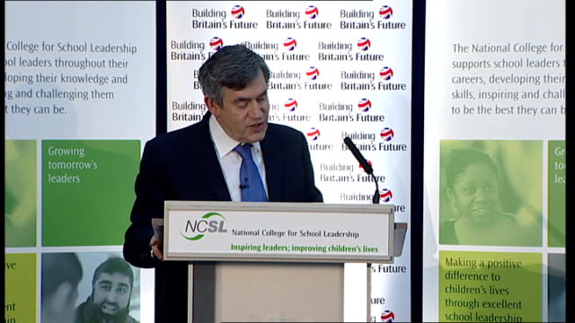 gordon brown speech on education; brown speech sot - already acted to free up curriculum / rose review will do the same for primary schools / already... - performance improvement stock videos & royalty-free footage