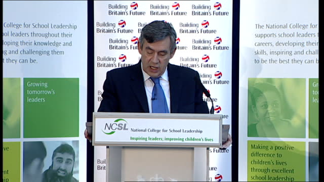 vídeos y material grabado en eventos de stock de gordon brown speech on education; brown speech sot - this school is one of great success stories of this country / working with local authority to... - new age