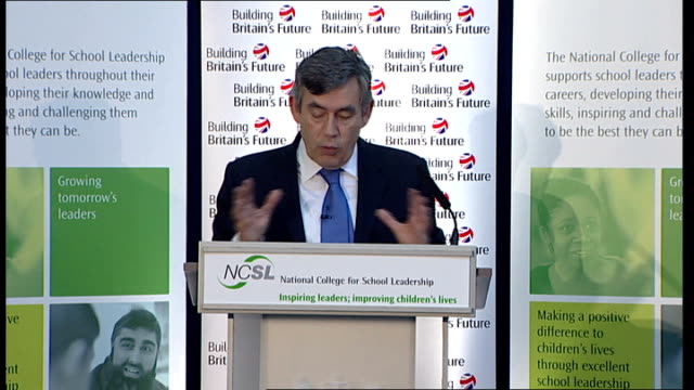 vídeos y material grabado en eventos de stock de gordon brown speech on education; brown speech sot - with primary schools for too long poor schools have been allowed to continue / starting in new... - 10 seconds or greater