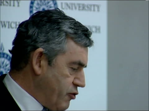 gordon brown speech on education; england: london: greenwich: int - pleasure to be at the university of greenwich today, people from all different... - simply red点の映像素材/bロール