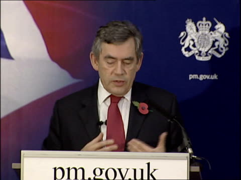 vidéos et rushes de gordon brown speech on human rights.; gordon brown mp speech sot - - i want to talk today about liberty - what it means for britain, for our british... - prime minister