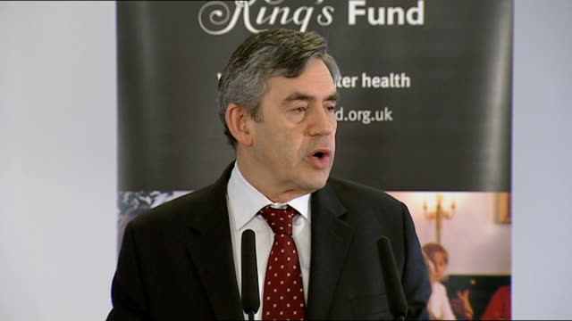 vídeos de stock e filmes b-roll de gordon brown speech on social care at kings fund; gordon brown mp speech sot - can i say first of all i am delighted to be here alongside ivan lewis,... - prime minister